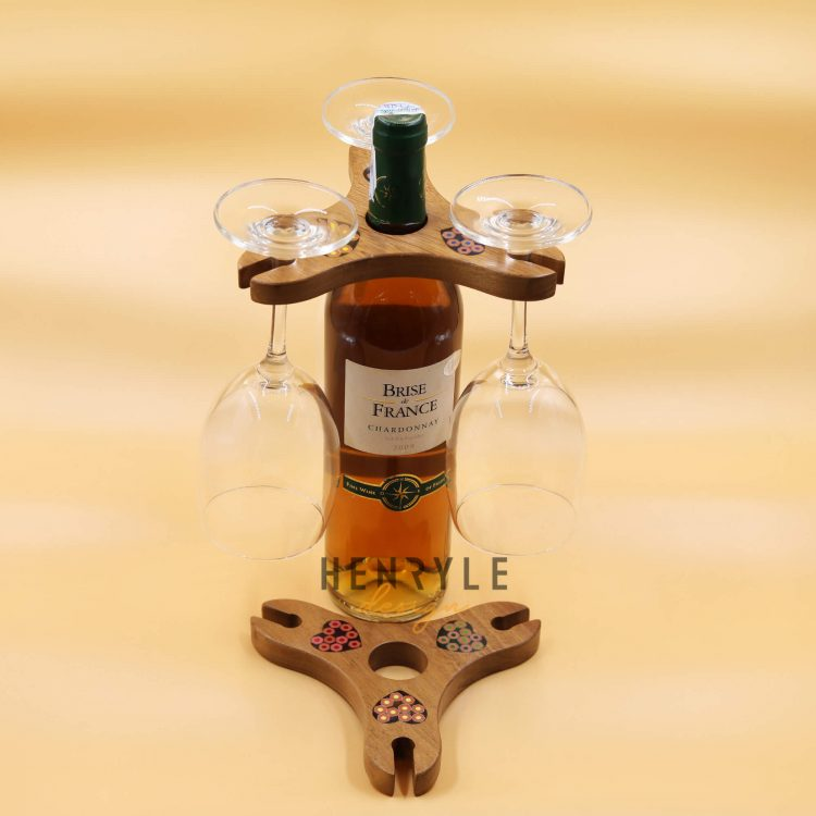 Triangle Colored-Pencil Wine Bottle Holder with 3 Long Stem Glasses