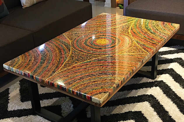 Unique Colored-Pencil Coffee Tables