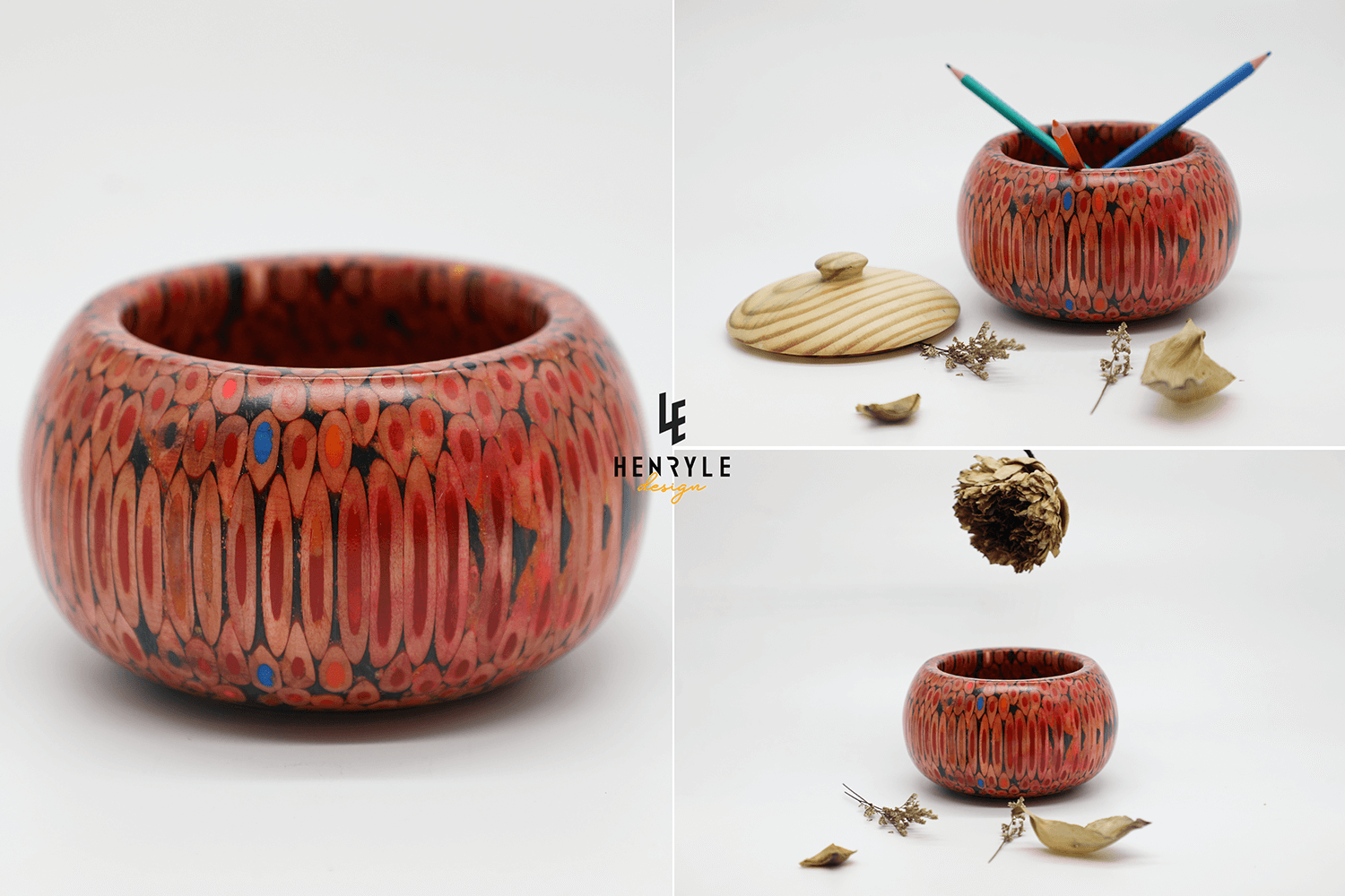 Unique Wooden & Colored-Pencil Vases