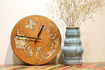 Urania Muse Colored-Pencil Wood Wall Clock