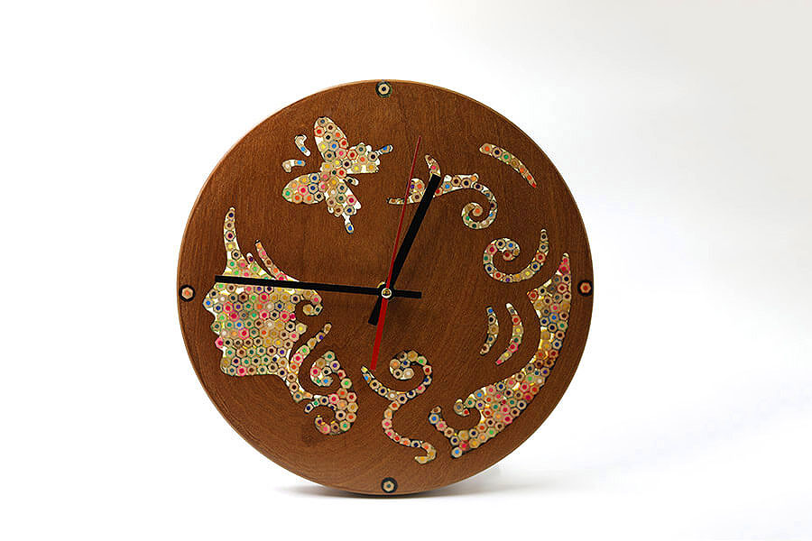 Urania Muse Colored-Pencil Wood Wall Clock 2