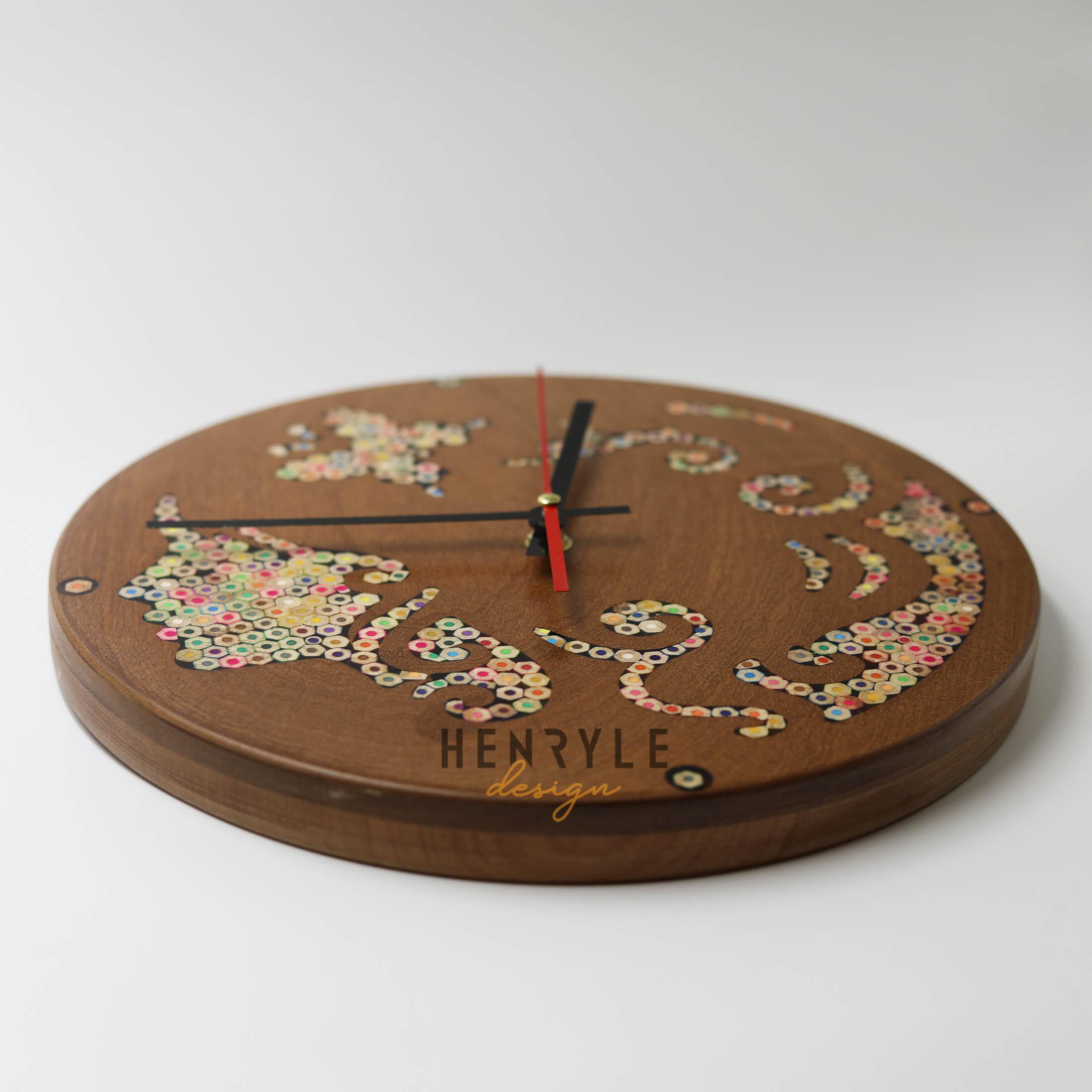 Urania Muse Colored-Pencil Wood Wall Clock