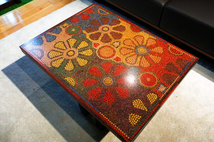 Wild Cosmos Flower Colored-Pencil Coffee Table 2