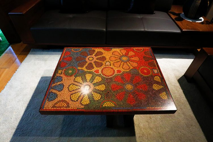 Wild Cosmos Flower Colored-Pencil Coffee Table 3