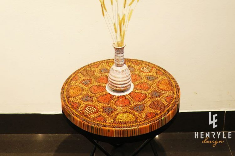 Wild Cosmos Flower Colored-Pencil Coffee Table III