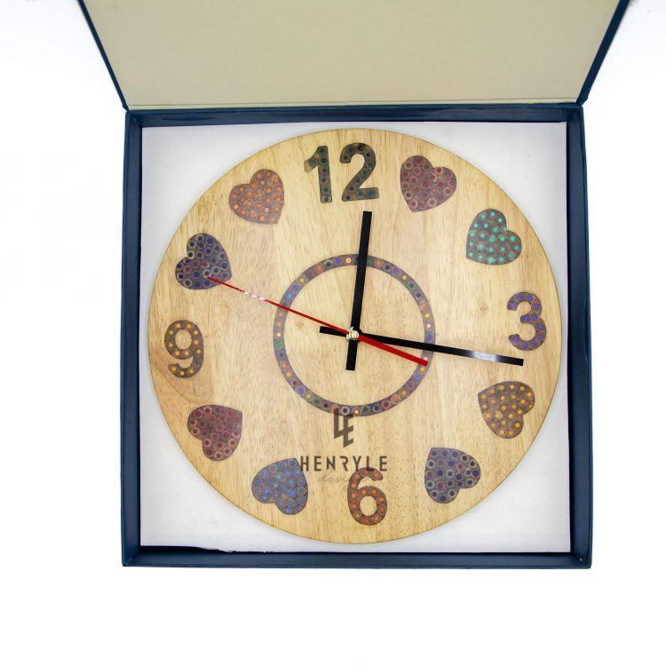 heart beat colored pencil wood wall clock2 (1)