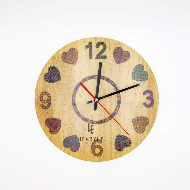 heat beat colored pencil wood wall clock 3 (1)