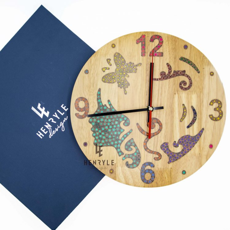 the fairy colored pencil wood wall clock 4 jpg
