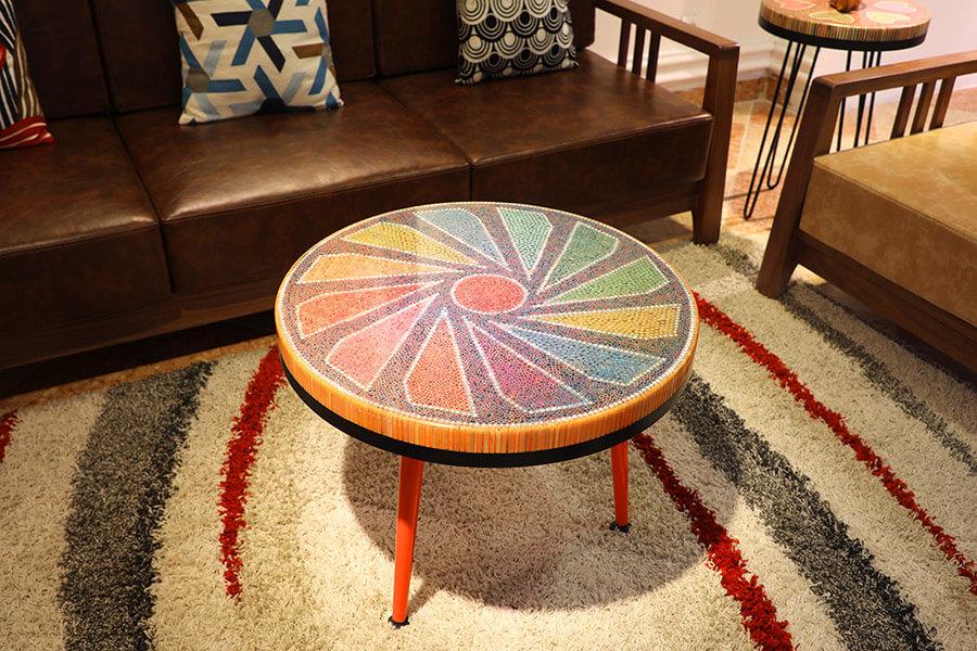 unique colored pencil coffee table